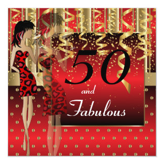 50th Birthday Bash Girl Party | Red & Gold Card