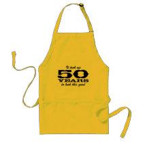 50th Birthday bbq aprons for men | yellow
