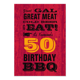 50th Birthday BBQ Grill Out Card