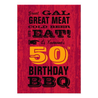 50th Birthday BBQ Grill Out Custom Announcements