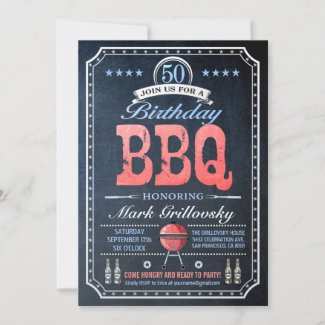 50th Birthday BBQ Invitations   Chalkboard