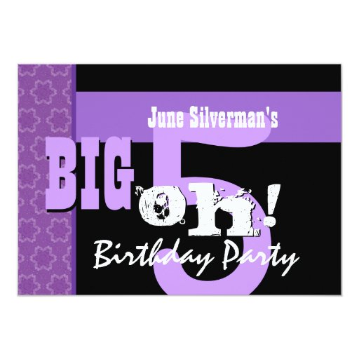 50th Birthday Big 5 Oh Purple and Black 5x7 Paper Invitation Card