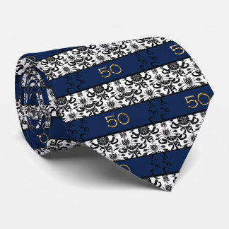 50th Birthday, Black and White Damask Tie