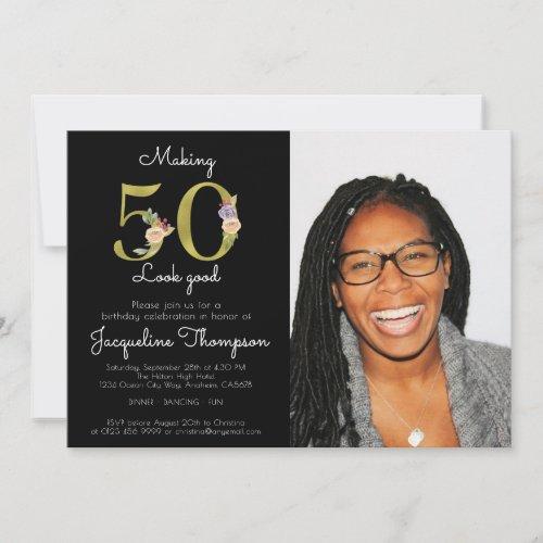 50th Birthday Black Gold 50 Looking Good Photo Invitation
