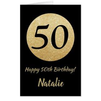 50th Birthday Black Gold Glitter Extra Large Jumbo Card