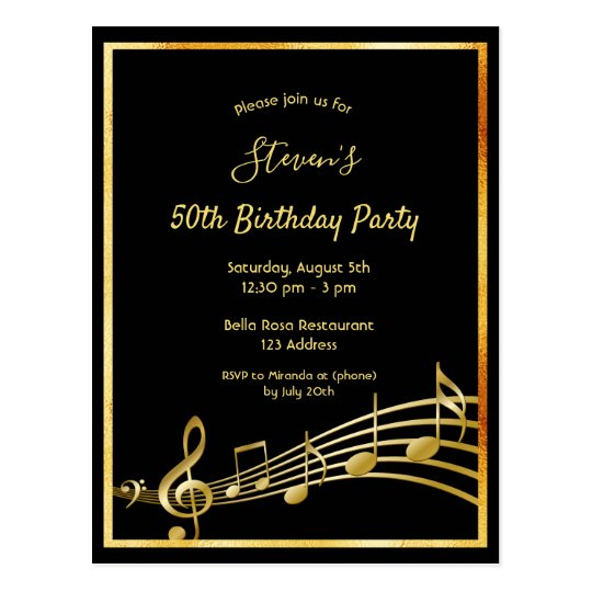 50th Birthday Black Gold Music Notes Invitation