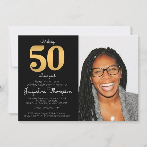50th Birthday Black Gold Photo Template Invitation
