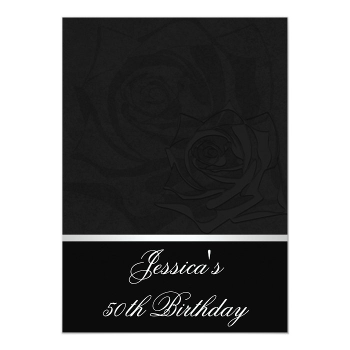 50th Birthday Black Roses White Satin Trim Party Card