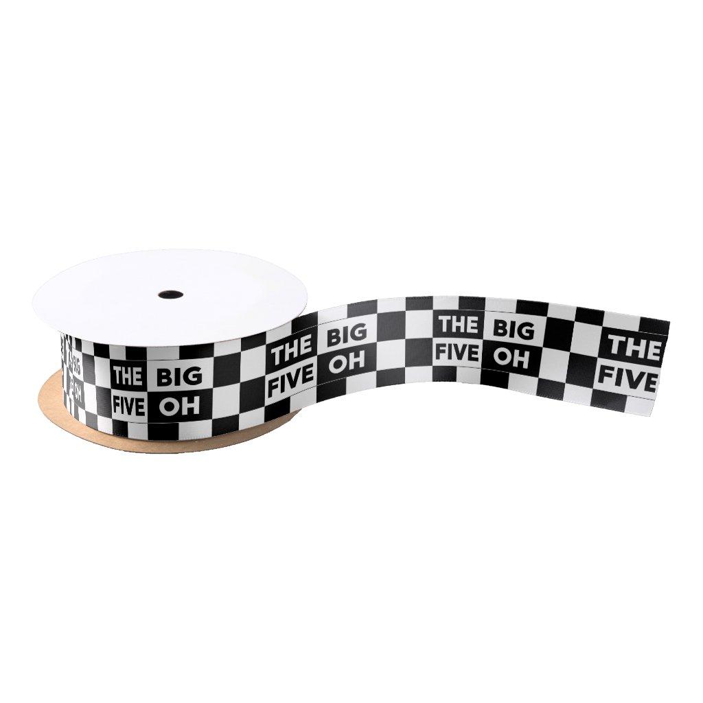 50th Birthday Black White Checkered Pattern Satin Ribbon