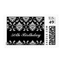 50th Birthday Black White Damask Postage