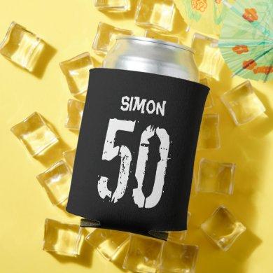 50th Birthday Black White Name Gag Gift Can Cooler