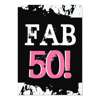 50th Birthday Black White Pink Zebra FAB FIFTY Personalized Invitation
