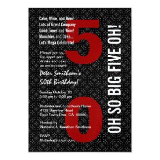"50th Birthday Black White Red BIG FIVE OH! W1489 5"" X 7"" Invitation Card"