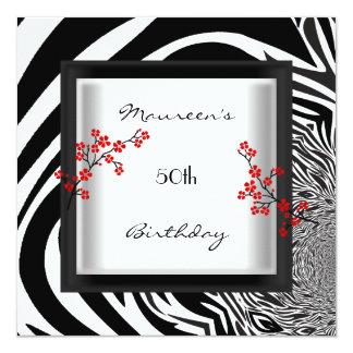 50th Birthday Black White Red Zebra Floral Asian Card