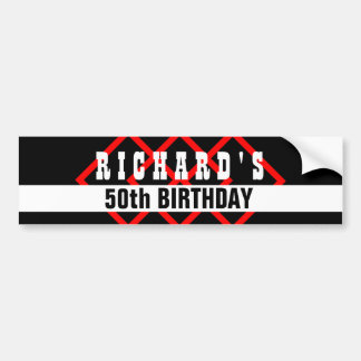 50th Birthday Black with Red Frame Geometric Z501 Bumper Sticker