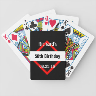 50th Birthday Black with Red Frame Geometric Z50 Bicycle Playing Cards