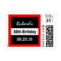 50th Birthday Black with Red Frame Geometric Z50 Postage