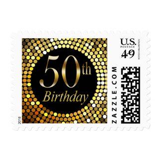 50th Birthday bling | black gold Postage