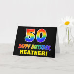 [ Thumbnail: 50th Birthday: Bold, Fun, Simple, Rainbow 50 Card ]