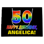 [ Thumbnail: 50th Birthday: Bold, Fun, Simple, Rainbow 50 Gift Bag ]