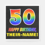 [ Thumbnail: 50th Birthday: Bold, Fun, Simple, Rainbow 50 Napkins ]