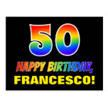 [ Thumbnail: 50th Birthday: Bold, Fun, Simple, Rainbow 50 Postcard ]