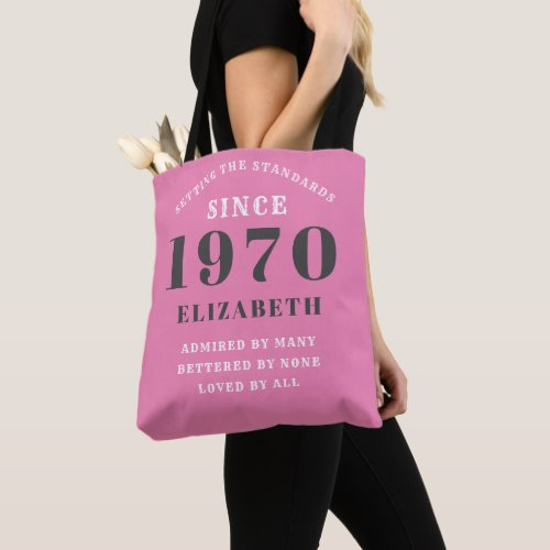 50th Birthday Born 1970 Add Your Name Pink Grey Tote Bag