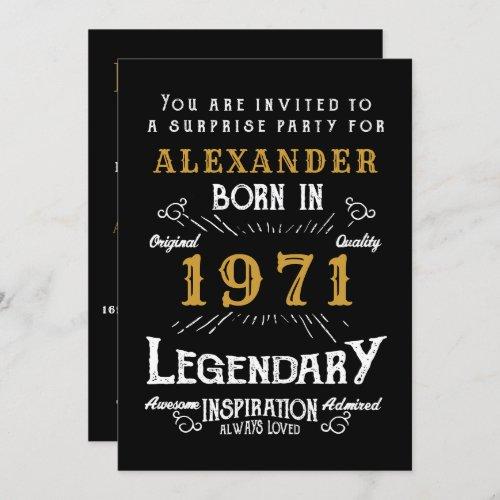 50th Birthday Born 1971 Black Gold Retro Vintage Invitation