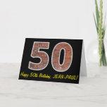 "[ Thumbnail: 50th Birthday - Brick Wall Pattern ""50"" W/ Name Card ]"
