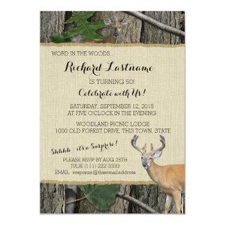 50th Birthday Buck with Hunting Camo 5x7 Paper Invitation Card
