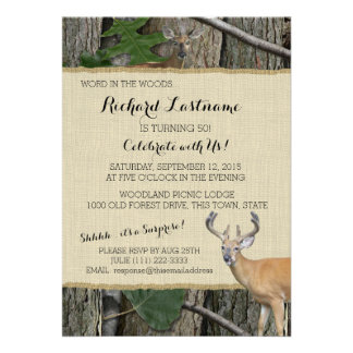 50th Birthday Buck with Hunting Camo Personalized Announcement