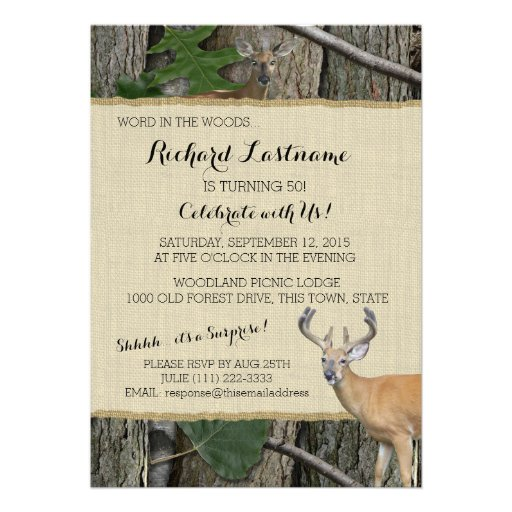 Personalized hunting birthday invitations custominvitations4u 50th birthday buck with hunting camo personalized announcement filmwisefo Images