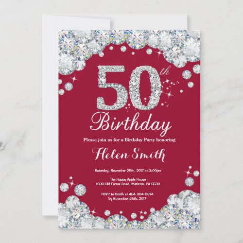 50th Birthday Burgundy Red and Silver Diamond Invitation
