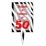 50th Birthday Cake Topper -- Zebra with Fun 50