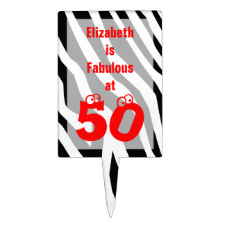 50th Birthday Cake Topper Zebra with Fun 50