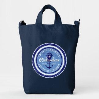 50th Birthday Captain Nautical Rope Anchor Helm Duck Bag