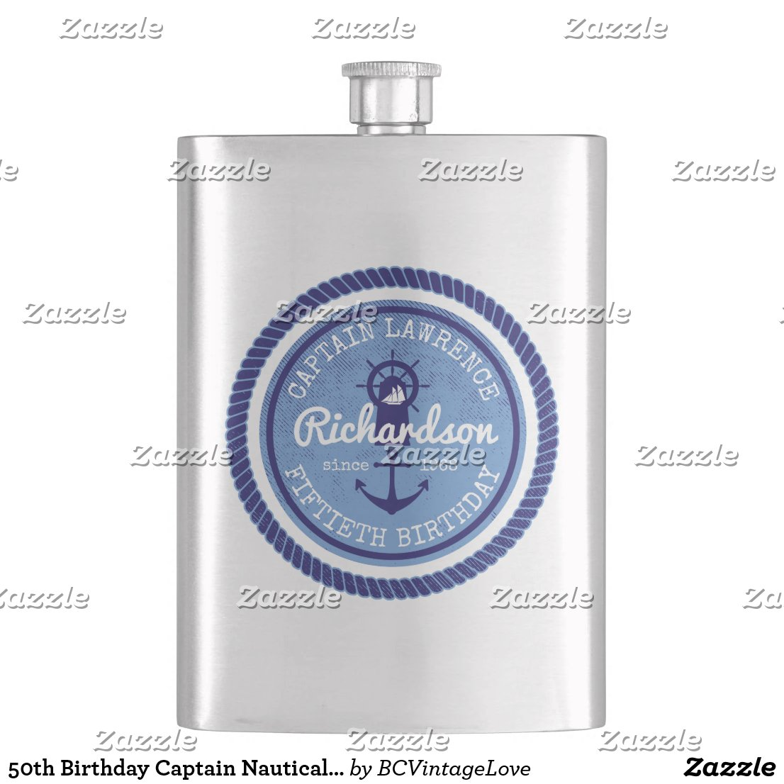 50th Birthday Captain Nautical Rope Anchor Helm Hip Flask