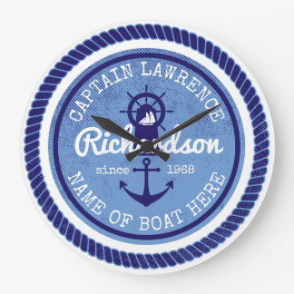 50th Birthday Captain Nautical Rope Anchor Helm Large Clock