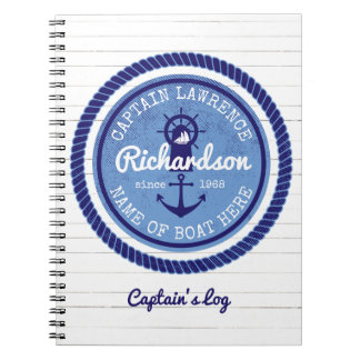 50th Birthday Captain Nautical Rope Anchor Helm Notebook