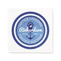 50th Birthday Captain Nautical Rope Anchor Helm Paper Napkin
