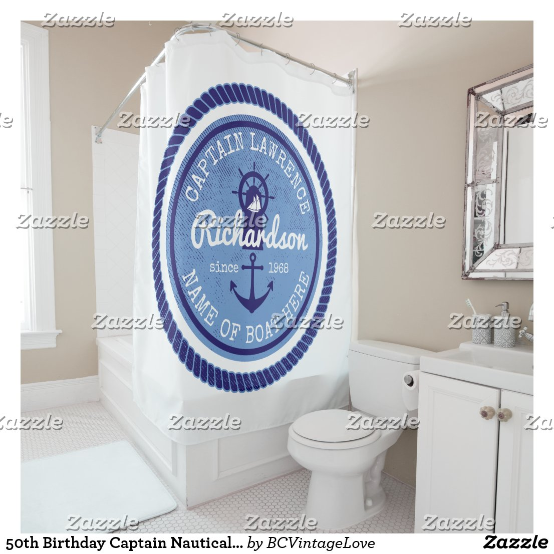 50th Birthday Captain Nautical Rope Anchor Helm Shower Curtain