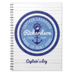 50th Birthday Captain Nautical Rope Anchor Helm Spiral Notebook