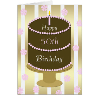 50th Birthday Card Cake in Pink