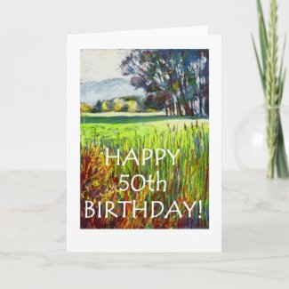 50th Birthday Card - Evening in the Meadows card