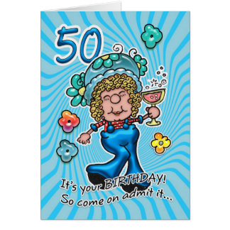 50th Birthday Card - Fun Lady With Glass Of Wine