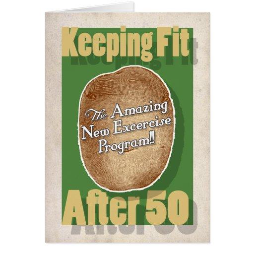 50th Birthday card: Potato Bag Fitness Program