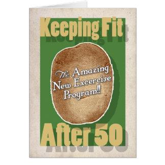 50th Birthday card: Potato Bag Fitness Program Greeting Card
