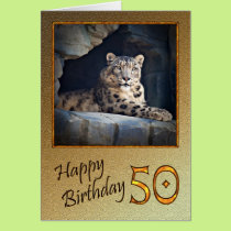 50th Birthday Card with a snow leopard