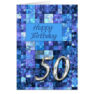 50th Birthday card with abstract squares.