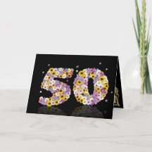 50th birthday card with flowery letters